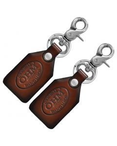OHM New York Pack of Two Leather Key Chains with Metal Hook