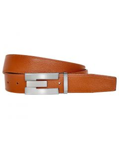 OHM New York Grained Soft Leather Perimeter Stitched Handmade Reversible Belts