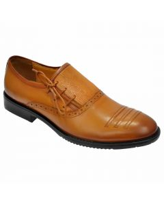 OHM New York Three Punched Laced Parallel lined Scrumbled Leather Shoes