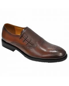 OHM New York Three Punched Laced Brogue Tip Scrumbled Leather Shoes