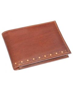 OHM Leather New York Brogue Perforated Wallet in Chili