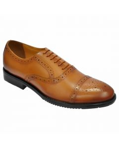 OHM New York Cap Toe Oxford Perforated Brogue Style Leather Shoes