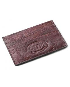 OHM New York Leather Card Case in Oxblood/ Black Color