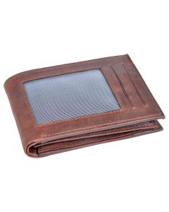 OHM New York Natural Grain Front ID Leather Wallet