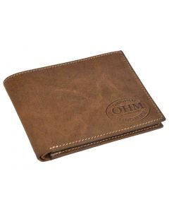 OHM New York Slim Bill Fold Wallet in Natural Leather