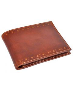 OHM New York Slim Perimeter Broguing Leather Wallet