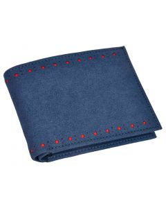 OHM New York Suede Slim Perimeter Broguing Wallet in Mallorca Blue Color