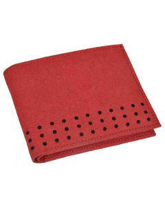 OHM New York Suede Slim Perimeter Stitched Wallet in Havana Red Color