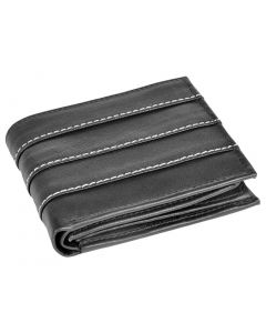 OHM New York Triple Front Line Stitched Designer Leather Wallet