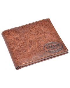 OHM New York Vertical Card Slot Wallet in Natural Grain Leather